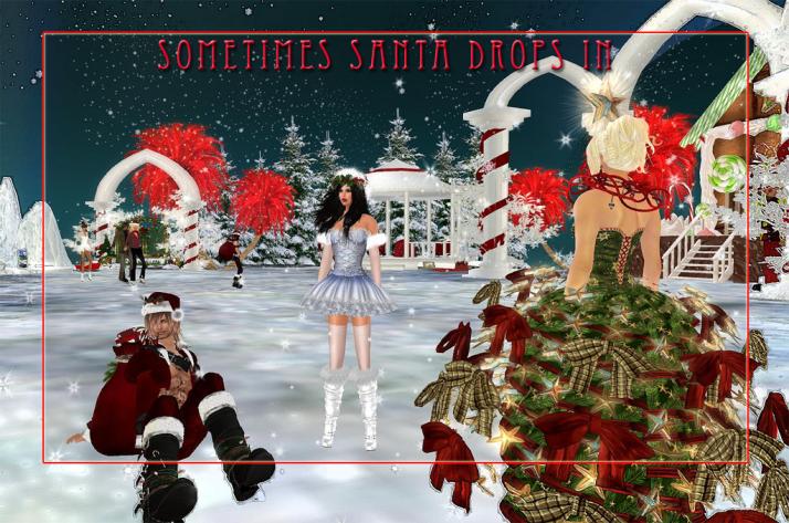 Santa makes a drop-in visit at the Two Moon Paradise Christmas & Skate Venue