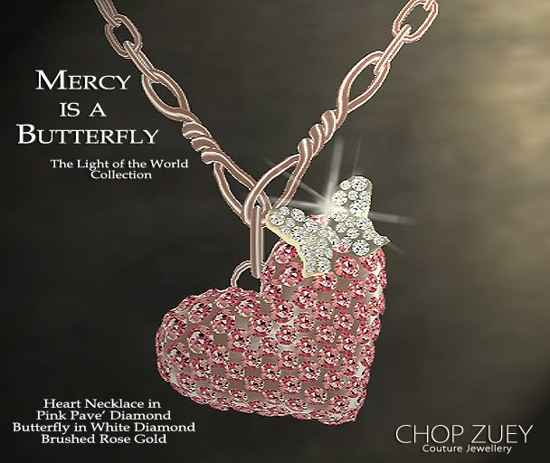 White & Pink Pave' Diamond Necklaces with Diamond Butterflies