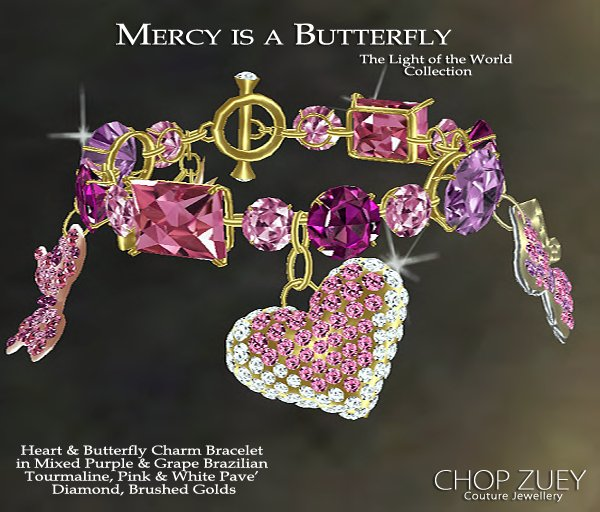 Heart & Butterfly Charm Bracelets in Diamonds, Padparaducha Sapphires, Pink & White Pave Diamonds