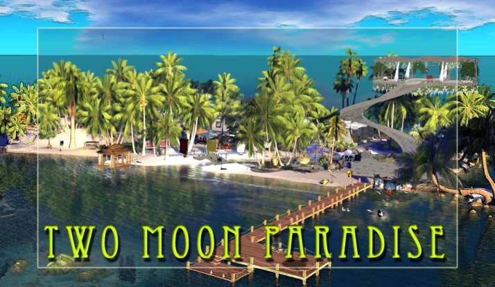 Come visit Two Moon Paradise and explore al the areas. The visit starts at Pelican Beach and travels all over the sim from Space to Undersea