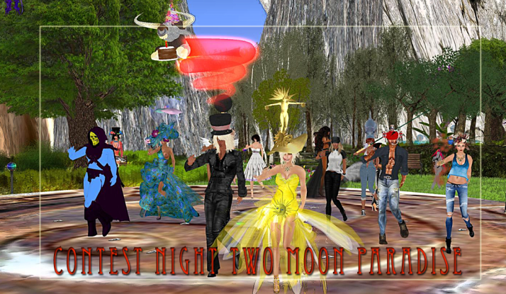 Thursady is contest day at Two Moon Paradise .. Best in crazy hats went to Chocolate Martini and her shell hat!