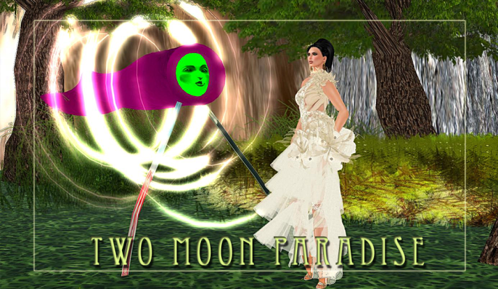 Shiran Sabra stands by the Artwork of Pol Jarvinen at Two Moon Paradise where the Arts of Second Life are featured