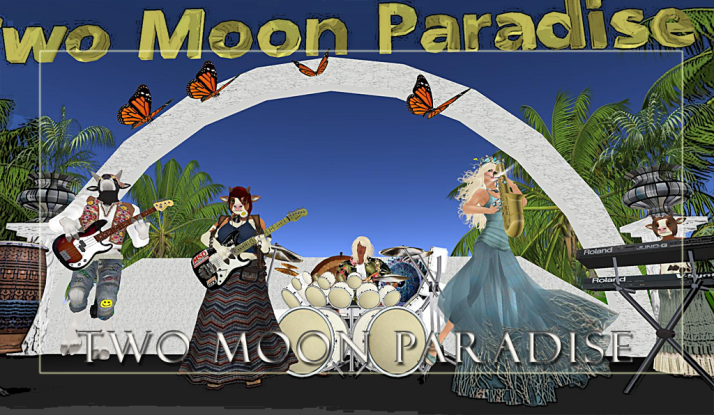 Tuesday at Two Moon Paradise Farrokh Vavoom and the Funky Feats 5-6 PM SLT then Gina Stella in the Mer Garden 6-7 PM SLT