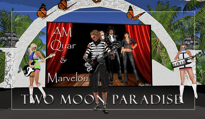 Come to Two Moon Paradise for Live Music, Contests and Music events weekly featuring Lisa Brune, CeCi Dover, Farrokh Vavoom, Gina Stella, Samm Qendra, AMForte Clarity, AM Quar, Max Kleene, Voodoo Shilton, Shay Sunnyside and The Funky Feats