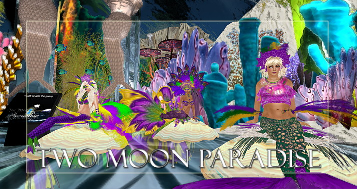 Winners Queen, LouLou, and Cricket Along with live music Two Moon Paradise has themed contests for both Mers and Landwalkers weekly. Come Explore The New Mer Cave Area
